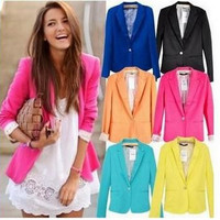 2014 Free shipping Womens Tunic Foldable sleeve Blazer Jacket candy color lined striped suit one button shawl cardigan Coat.