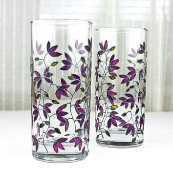 Hand Painted Glasses, Tumblers, Water Glasses,  Anniversary Glasses, Set of 2, Purple Tulips Design