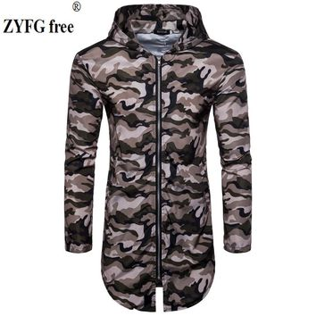 Trendy New 2018 style Sunscreen jacket men's Casual Outwear length Jacket men Hooded Coat camo Windbreaker Clothing EU/US size M-XXL AT_94_13
