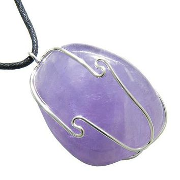 Brazilian Large Tumbled Healing Amethyst Caged Gemstone Crystal Lucky Charm Amulet Pendant Necklace