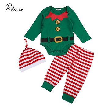 Christmas Baby Boy Clothes Set Xmas Newborn Baby Girls Long Sleeve Romper Pants Hat 3Pcs  New Hot Outfits Kids Clothing Set