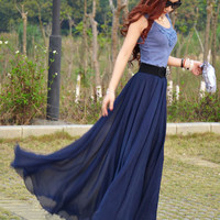 Women's chiffon aline skirt bohemian maxi skirt long skirt summer full skirt beach skirt (156)