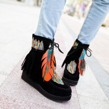 Fringed Feather Leather Booties