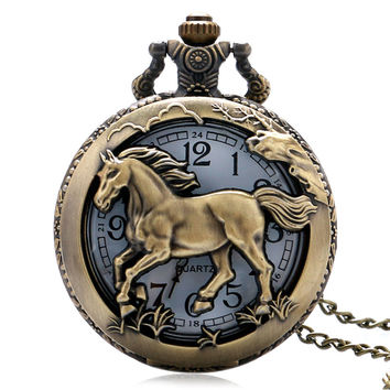 Pocket Watch Free Shipping Bronze Copper Horse Hollow Quartz Watch Clock Hour Fob With Chain Pendant Womens Men Xmas GIfts P907