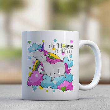 Unicorn - Cute Mugs - Quotes Mugs - Pink Purple - Rainbow - Clouds - Coffee Mugs - Tea Mugs