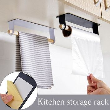 Metal wall hanging Holder wood towel Shelf bathroom Roll paper rag Holder plastic wrap film Storage Racks kitchen accessories
