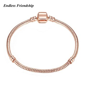 High Quality 17-21cm Plated Rose Gold 3mm Snake Chain Bracelet Fit Pandora Bracelets Women DIY Making Jewelry Dropshipping