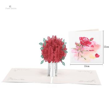 3D Pop up Flower Wedding Invitation Greeting Gift Thank You Cards Blank Postcards Birthday Handmade Paper Laser Cut Thanksgiving