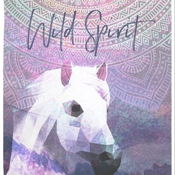 Reiki Charged Horse Sunset Pink Polygonal Tapestry Wall Hanging
