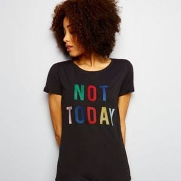 JDY Black Slogan Print T-Shirt