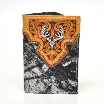 Nocona Tri-fold Genuine Leather Camo Western Men's Wallet Skull Concho-N54574222