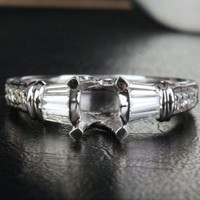 6.5-7mm Round Cut Solid 14KT White Gold .45CT Diamond Engagement Semi Mount Ring