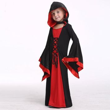 Kids Halloween Hood Dress Girls Witch Costume Wizard Sorceress Robe Child Halloween Cosplay Costume Medieval Black Red Gown S-XL