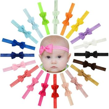 20pcs/lot kids Small Bow Tie Headband DIY Grosgrain Ribbon Bow Elastic Hair Bands Hair Accessories 644