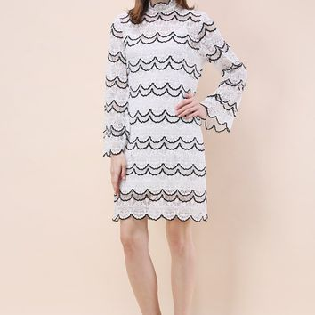 Wavy Contrast Full Lace Shift Dress with Bell Sleeves