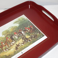 Melamine Serving Tray with Handles, Bury Hunt English Hunting Scene, Traditional Decor