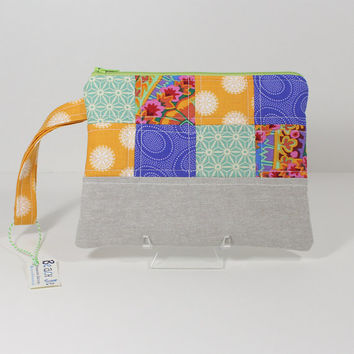 Wristlet Purse Patchwork  Zipper Pouch with Strap and Interior Pocket, Designer Cotton Fabric with Linen Blend Flax Bottom