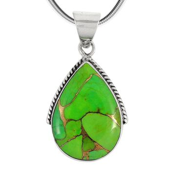 Green Turquoise Pendant Necklace in Sterling Silver 925 (SELECT Style)