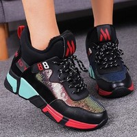 New Black-red Round Toe Flat Sequin Fashion Shoes