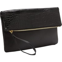 Old Navy Faux Leather Fold Over Clutch Size One Size - Black