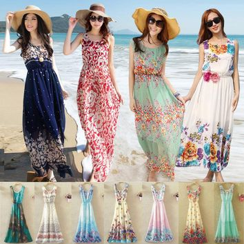 Dresses Beach Dress 2018 Women Long Maxi Boho Beach Summer Dress Floral White Chiffon Bohemian Tunic Skater Elegant Sundresses