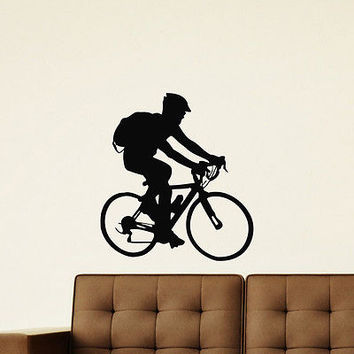WALL DECAL VINYL STICKER SPORT BOY CYCLING BICYCLE DECOR SB636