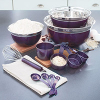 Purple 6-Pc Mix 'n' Measure Set Mixing Bowls Whisk Measuring Spoons Kitchen Prep