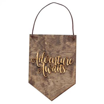 """Adventure Awaits"" - Wooden Wall Banner"