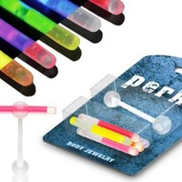 Tongue Rings Glowstick Barbell Holder plus pack glowsticks glow sticks