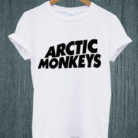 Hot -ARCTIC MONKEYS UK Band Tour 2014 Logo Tee Shirt Black and White Unisex Size - Part 2