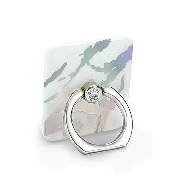 Holo White Marble Phone Ring