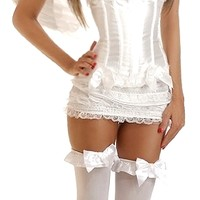 4 PC Burlesque Angel Corset Costume