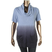 INC Womens Plus Ribbed Knit Dip-Dye Tunic Sweater