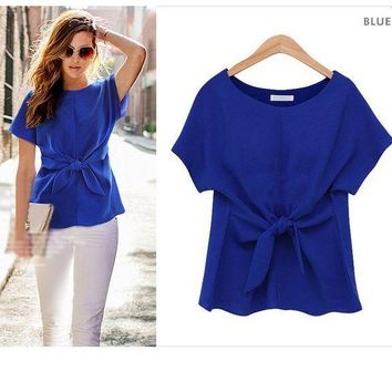 PEAPS2 New 2018 Spring&Summer Fashion Women's Chiffon Short Sleeve Tops Girls Bow Sweet Blouse&Shirt S~XXL