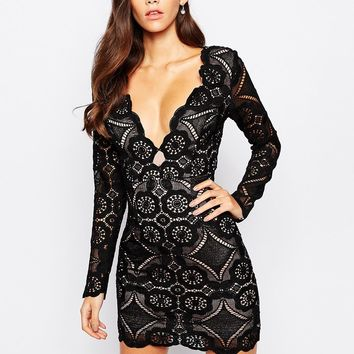 Love Triangle V Neck Mini Dress In All Over Lace