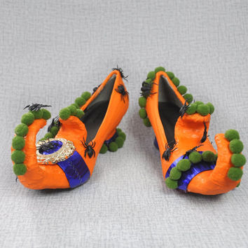 Halloween shoes, boots, witch shoes, Halloween decor, orange black cobalt green, buckle, spiders, OOAK, unusual arrangement, candy holders