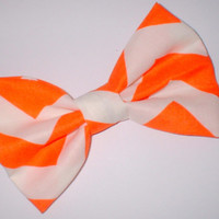 Orange and White Chevron Print Handmade Hair Bow Hair Accessory Hair Clip