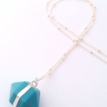 Turquoise & Silver Nugget Pendant