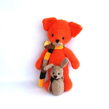 stuffed fox toy, amigurumi orange animal, woodland crocheted toy for children, cuddly doll, crochet fox, orange fox