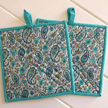 Fabric Potholders - Set of two quilted potholders in turquoise paisley, Potholders to brighten up any kitchen or BBQ area,Quiltsy Handmade
