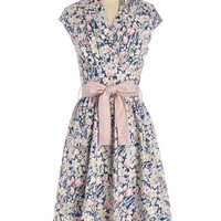 ModCloth Long Cap Sleeves Fit & Flare Greeting Postcard Dress in Flowers