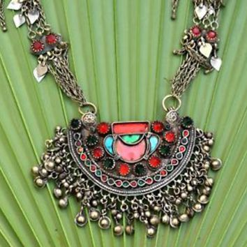 Long Afghan Big Kuchi Pendant Necklace Tribal Jewelry Kashmiri Ethnic Boho Dance