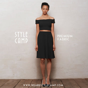 PREMIUM Coco Two-Piece Crop Top & Skater Skirt Co-Ord Set in Black Ponte