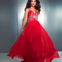Mac Duggal Prom 2013- Hot Orange Gown With Embellishments - Unique Vintage - Cocktail, Pinup, Holiday & Prom Dresses.