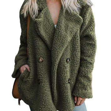 Women Army Green Fleece Open Front Coat With Pockets