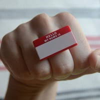$5.00 red name tag ring by alliterations on Etsy