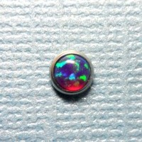 Fire Violet Purple Opal in Steel Microdermal Jewelry Top - 3mm 4mm 5mm
