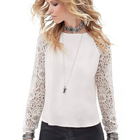 Chiffon Top with Lace Sleeve