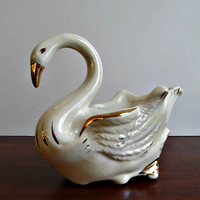 Swan Planter - Vintage Ceramic Iridescent Art Pottery - Air Plant Succulent Home Decor