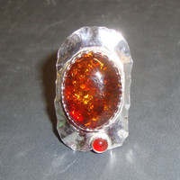 Gnarled Ring Baltic amber and Carnelian in eco-friendly sterling silver - Size 6 or Custom Made in your Size